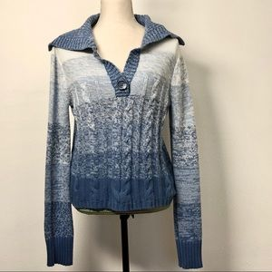 SO Wear it Declare It Blue Button Down L Sweater